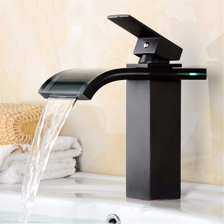 Yuyu19-SLT Wasserhahn Küche Einhebelmischer Spültisch Armatur Küchenarmatur Spültischarmatur Spülbecken Mischbatterie Europischer Retro- schwarzer Wasserfall, Glaszwerg