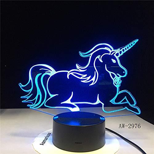 Liegen Einhorn Romantische Kinder Geschenk 3D LED Tischlampe 7 Farbwechsel Nachtlicht Raumdekoration Holiday Girlfriend Kids Toys 2976