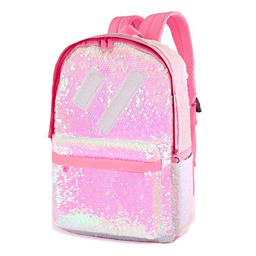 Flip Sequin Backpack for Girls Kids Boys Kindergarten Elementary Middle School Bookbag Cute Spark Book Bags Teen Travel Outdoor Daypack Back Pack(Pink)