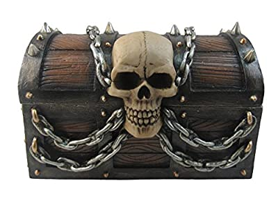 DWK - Treasure of Terror - Pirate's Booty Treasure Chest with Skull and Chains Trinket Storage Jewelry Stash Keepsake Box Beach Nautical Caribbean Themed Home Decor Accent, 6-inch
