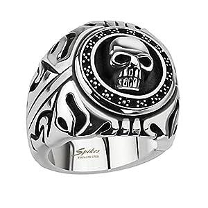 Piersando Herren Ring Edelstahl Biker mit 3D Totenkopf Männer Herrenring 26mm Breit Silber Größe 65 (20.7)