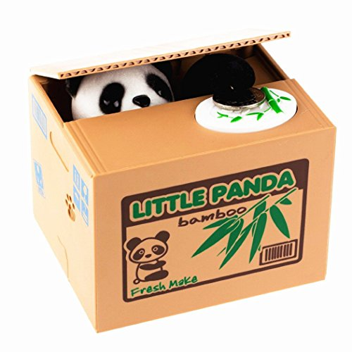 Xubox Stealing Coin Panda Box, Plastic Electronic Stealing Coin Piggy Bank Panda Box Money Bank with English Speaking for Fun and Saving Money, 3.5 x 4 5 x 5 Inch, Great Gift for Boys, Girls, Kids