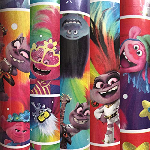Trolls World Tour Movie Character Birthday Christmas Wrapping Paper 60 sq ft 1 Roll