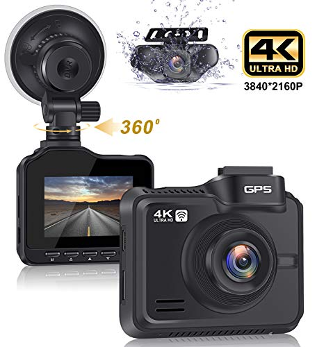 """Lifechaser Dual Dash Cam 4K+1080P Front and Rear Car Camera 3840x2160P 8MP CMOS, WiFi, GPS, Night Vision, 2.4"""" IPS, 170° Wide Angle, Parking Mode, WDR, Time Lapse, G-Sensor for Cars, Truck"""