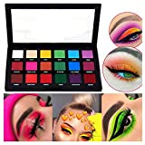 18 Shades Neon Eye Shadow Palette Powder Pigmente Matte Makeup Beauty Colour, Paleta de Polvo de Sombra de Ojos de 18 Colores, Maquillaje de Ojos Brillante Natural