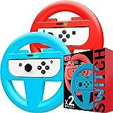Orzly Lenkrad Doppelpack für das Nintendo Switch – Lenkrad Aufsatz für die Nintendo Switch Joy-Con Controller in BLAU & ROT