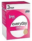Legg's Control Top Support Panty Hose 3 Pair Pack, Suntan, Size - Q