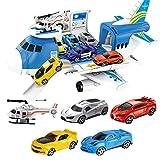 Juego de juguete para coche de juguete para avión, juego de juguete para avión de carga de transporte para niños de 3 años en adelante, juguete de regalo, que incluye 4 coches y 1 helicóptero