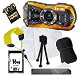 1A Photo PORST Jubiläums Angebot Ricoh WG-50 Orange+Mini-Stativ+Display-Schutzfolie+SD 16 GB