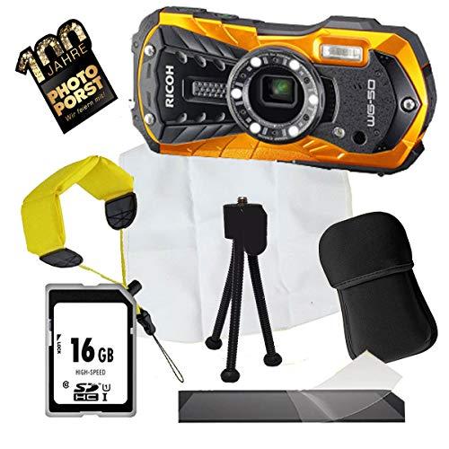 1A Photo PORST Aniversario Oferta Ricoh WG-50 Naranja + Mini Trípode + Mostrar Película Protectora + SD 16GB Tarjeta de Memoria + Bolsa + Cinturón de Natación + Tela de Microfibra