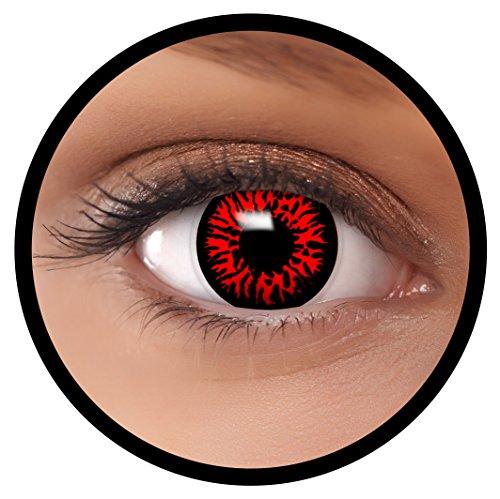 Farbige Kontaktlinsen rot Dämon | Ideal für Halloween, Karneval, Fasching oder Fastnacht | Inklusive Behälter von FXEYEZ | Ohne Stärke als 2er Pack