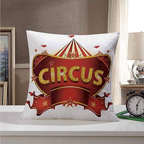 Federa quadrata per cuscino circo, segno del circo in stile barocco, grande divertimento a tema tendone della vita notturna retrò, giallo, bianco, rosso, 45,7 x 45,7 cm, vari motivi di moda