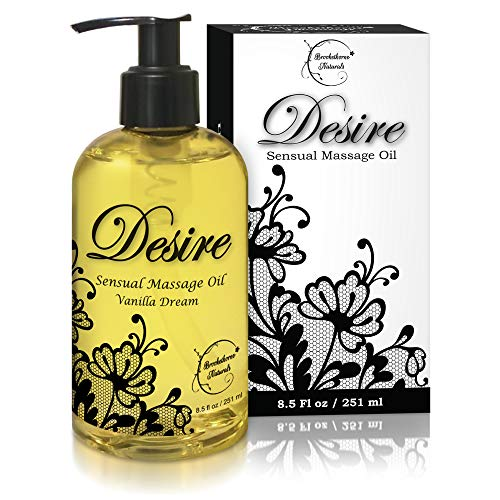 good massage oils Desire Sensual Massage Oil - Best Massage Oil for Couples Massage – Perfect Gift for Her - All Natural - Contains Sweet Almond, Grapeseed & Jojoba Oil for Smooth Skin 8oz
