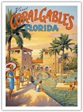 Pacifica Island Art Visit Coral Gables - Florida - Venetian Pool - Vintage Style World Travel Poster by Kerne Erickson - Premium 290gsm Giclée Art Print - 12in x 16in