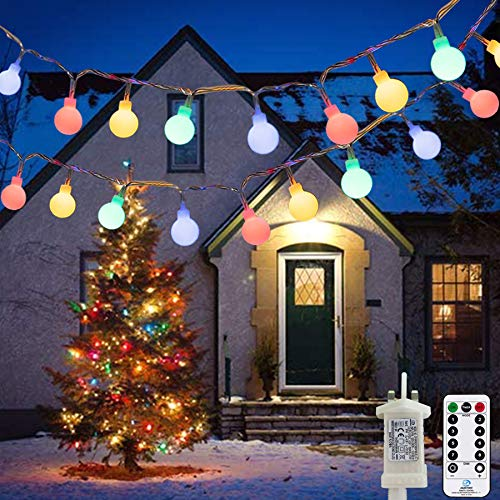 Fairy Lights Plug in 120 LEDs, 15M/49ft Globe String Lights, 8 Modes Garden Lights with Remote Timer Control, Christmas Lights Outdoor/Indoor for Bedroom, Party, Wedding Decorations (Multi-Coloured)