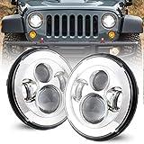 COWONE Cree 7'inch Projector LED Headlights Compatible with Jeep Wrangler 97-2018 JK TJ LJ CJ Hummer H1 H2 Headlamps Chrome