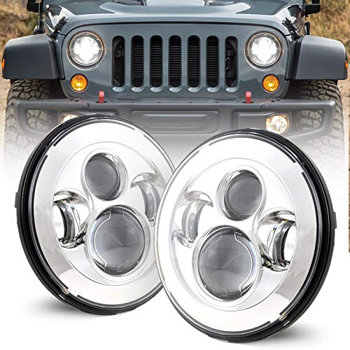 "COWONE Cree 7""inch Projector LED Headlights Compatible with Jeep Wrangler 97-2017 JK TJ LJ CJ Hummer H1 H2 Headlamps Chrome"