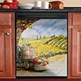 Vineyard Watercolor Painting Kitchen Dishwasher Magnet Cover Decal, Grape Wine Country Wine Barrel Dishwasher Home Decor Sticker, Vineyard 3, 23 W x 17 H inches(Magnetic)