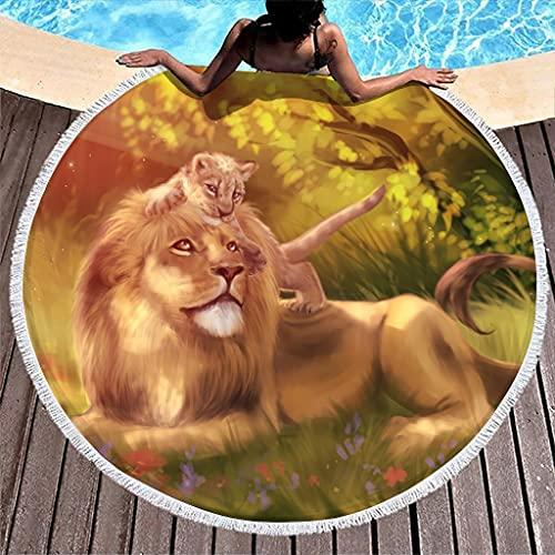 Hothotvery Toallas de playa redondas con borlas Fantasy León y peluche, impresión solar, alta calidad, absorbentes, para niños pequeños, color blanco, 150 cm