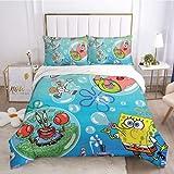 SpongeBob - Juego de cama de 3 piezas para niños, adolescentes, niñas, funda de edredón