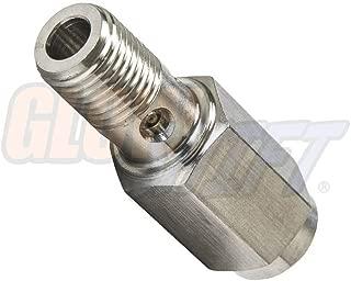GlowShift Fuel Pressure Banjo Bolt & Snubber Valve Combo Sensor Thread Adapter for 1994-1998 P7100 12-Valve 5.9L Dodge Ram 2500 3500 Cummins - All-in-One Design - Includes 2 Crush Washers
