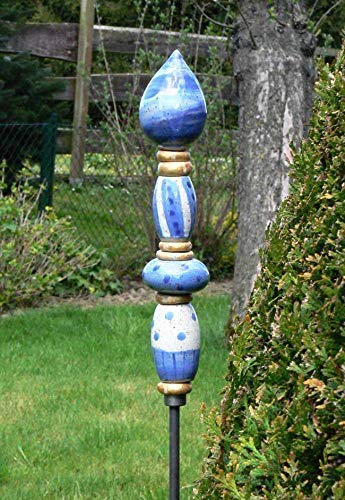 Keramik Stele, Frostfest, Gaartendeko, getöpfert, handgemacht
