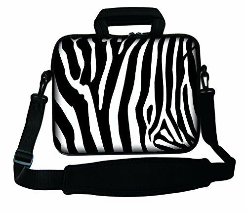 Luxburg schoudertas, 14 inch, zacht, voor notebooks, met greep, design: zebra
