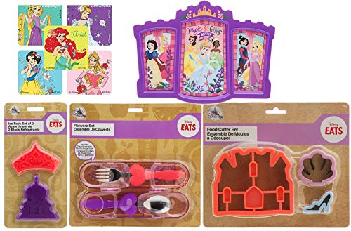 Royal Girls Princess Mealtime Disney Magic Collection Fork & Spoon Flatware + Ice Pack + Food Cutter + Stickers & Fasion Castle Plate