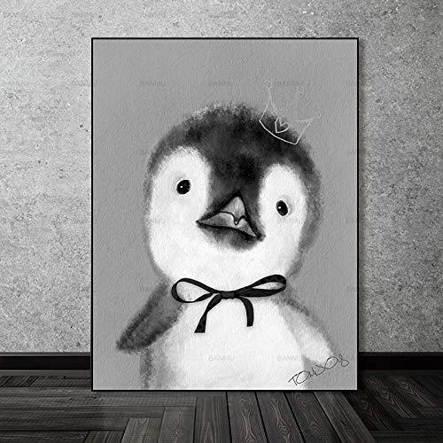 Hechuyue Pintura sobre Lienzo Arte póster decoración de la Pared Arte sin Marco Imagen Moderna del hogar decoración del Arte del hogar impresión Animal de Dibujos Animados sobre Lienzo
