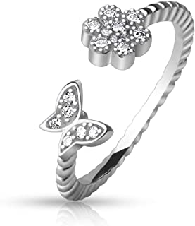 Silvernshine Jewels 0.6 Cts Round Simulated Diamond Butterfly Adjustable Toe Ring 14K White Gold Plated
