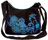 Guru-Shop Schultertasche, Hippie Tasche, Goa Tasche - Schwarz/blau, Herren/Damen, Baumwolle, Size:One Size, 23x28x12 cm, Alternative Umhängetasche, Handtasche aus Stoff
