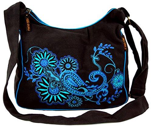 GURU SHOP Schultertasche, Hippie Tasche, Goa Tasche - Schwarz/blau, Herren/Damen, Baumwolle, Size:One Size, 23x28x12 cm, Alternative Umhängetasche, Handtasche aus Stoff