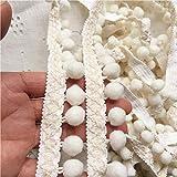 2.5 cm de ancho nuevo encaje de algodón bordado cinta borla pompón borde recortar cortinas vestido empalme flecos costura suministros de guipur de bricolaje, blanco