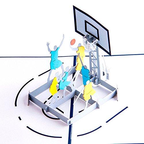 UNIQUEplus kreative 3D-Pop-Up-Grußkarte mit Basketball-Motiv für Geburtstag, Vatertag, Weihnachten, Jahrestag, Hochzeit oder andere besondere Anlässe
