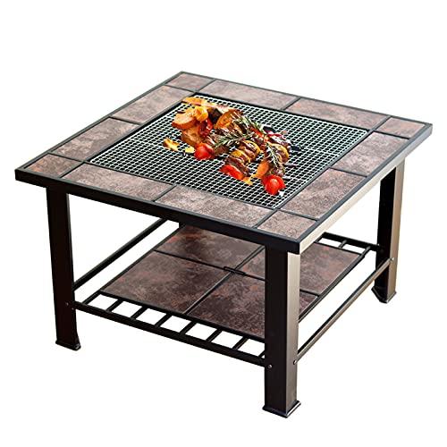 GKTF Gartenfeuergrube, 4in1outdoor-Quadrat-Kamin mit BBQ-Grill-Regal-Funkenbildschirm und -Grills Netto- / Eisgrube/Tisch/Feuerschüssel höher und komfortabler als gewöhnliche Feuerstelle-Tische