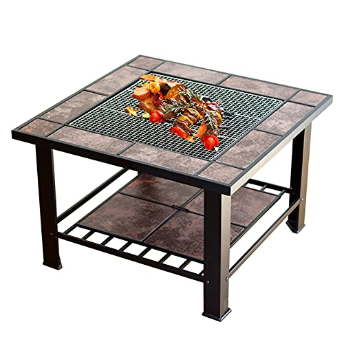 Garden Fire Pit, 4in1Outdoor Square Fireplace with BBQ Grill Shelf Spark Screen and Barbecues Net/Ice Pit/Table/Fire Bowl Higher and More Comfortable than Ordinary Fire Pit Tables