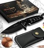 Le Flair® Outdoor Messer Set mit Gürteltasche – Taschenmesser Einhandmesser schwarz mit Edelstahl Titanklinge - Survivalmesser - Bushcraft Messer inkl. Kompass und Geschenkbox – Klappmesser