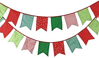 FirstKitchen 3.5M/11Feet Lovely Bunting Cotton Flag Banner Pennant Flag Garland Fabric Flags Double-Sided Vintage Cloth Shabby Chic Decoration for Birthday Parties,Ceremonies,Bedrooms