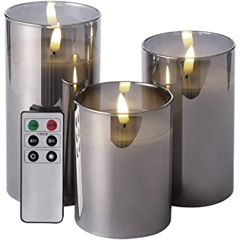 """Eywamage Glass Flameless Candles with Remote Battery Operated Flickering LED Pillar Candles Real Wax Wick 3 Pack D 3"""" H 4"""" 5"""" 6"""" Gray"""