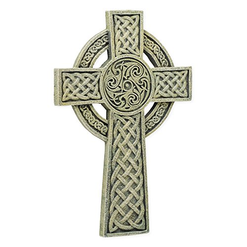 Celtic Grey 6 x 9.5 Inch Resin Stone Decorative Hanging Wall Cross
