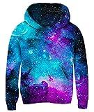 uideazone Boys Girls Galaxy Universe Hoodies 3D Printed Long Sleeve Sweatshirt Cool Hooded Tops for School 11-13 Years