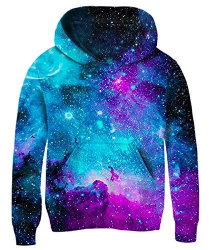 uideazone Kids Galaxy Printed Sweatshirt 3D Graphic Long Sleeve Crewneck Hoodies Funny Children Boys Girls Hoodies 8-10 Years