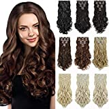 """DILUSILK Clip in Hair Extensions 7 PCS Thick 20"""" 150g Soft Silky Body Wave Synthetic Hairpiece Black"""