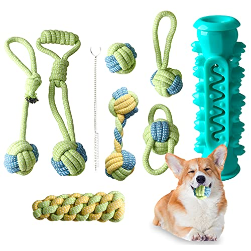 Dog Rope Toys, Puppy Teething Chew Toys , 8 Pack Puppy Rope Toys for Chewers, Durable Dog Rope Toys for Medium to Small Dogs, Puppy Chew Toys Teething Set Cotton Dog Rope Toys
