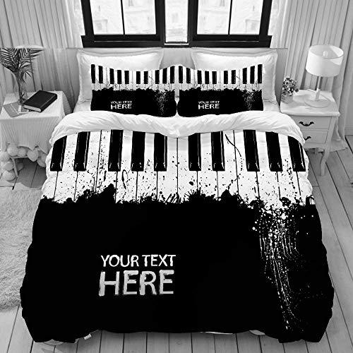 SmallNizi Juego de Funda nórdica, Copia de Llaves de Piano Blanco Negro Grunge, Juego de Cama Decorativo Colorido de 3 Piezas con 2 Fundas de Almohada