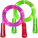 ArtCreativity Light Up Jump Ropes for Kids, Set of 2, Skipping Ropes with Eye-Catching Flashing LED Lights, 93 Inch Exercise Jumping Ropes for Boys and Girls, Outdoor Indoor Toys for Boys and Girls