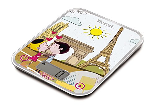 Tefal BC5125V0 BC OPTISS Cities Elektronische keukenweegschaal, motief: Parijs, van glas, meerkleurig, 18 x 2,9 x 23,2 cm