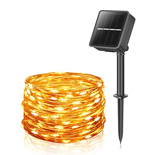 Solar Fairy Lights Outdoor, 14M 120LED Solar String Lights Waterproof 8 Modes Copper Wire Decorative Solar Powered Garden Light for Tree Patio Tent Fence Summer Party Wedding Xmas (Warm White)