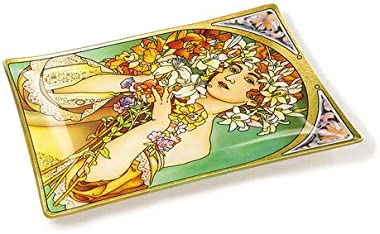 Amia Art Nouveau Flower Handcrafted Glass, Tray, Multicolored