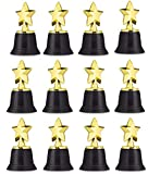 Neliblu Star Gold Award Trophies 4.5' Gold Star Trophy for Awards, Winners, Oscar Awards and Hollywood Parties Bulk Pack of 12